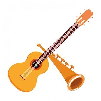 Gitarren- und trompetenikonenkarikatur