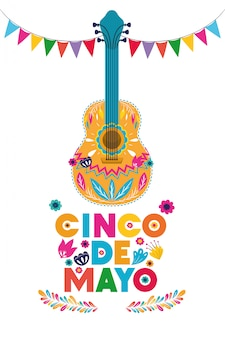 Gitarrendesign, kulturtourismus-marksteinlatein cinco des mayo mexiko und parteithema vector illustration