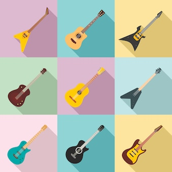 Gitarrenikonen eingestellt, flache art