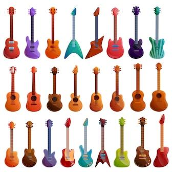 Gitarrenset im cartoon-stil
