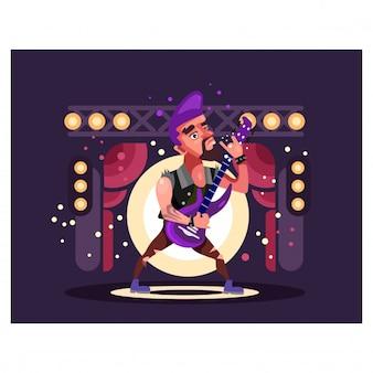 Gitarrist spielt auf einer purpurroten bühnenzeichentrickfilm-figur