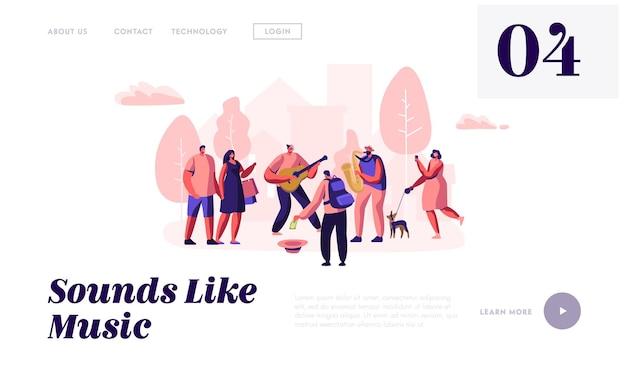 Gitarrist und saxophonist musik im park spielen, leute beim konzert gucken, geld in den hut stecken, straßenmusiker treten im freien auf. website-landingpage, webseite. karikatur-flache vektor-illustration