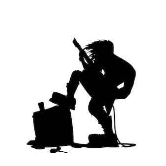 Giutar spieler silhouette mit lautsprecher