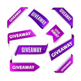 Giveaway-tags oder labels für social media-posts. vektor werbegeschenk wettbewerb bänder.