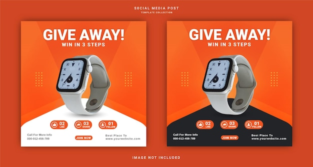 Giveaway to win watch win it three steps instagram banner social media post template