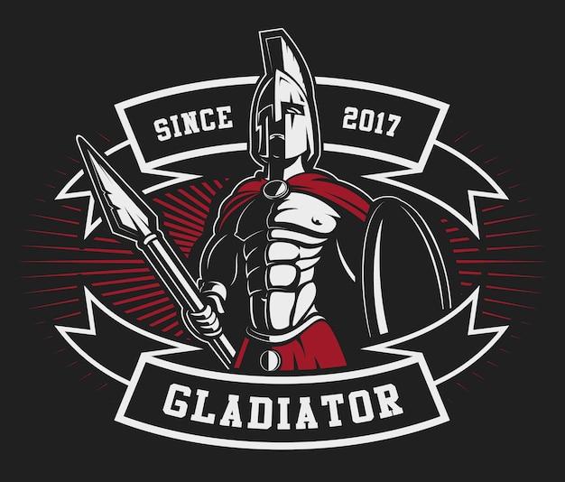 Gladiator-emblem mit einem speer auf dunklem hintergrund. text befindet sich auf der separaten ebene.