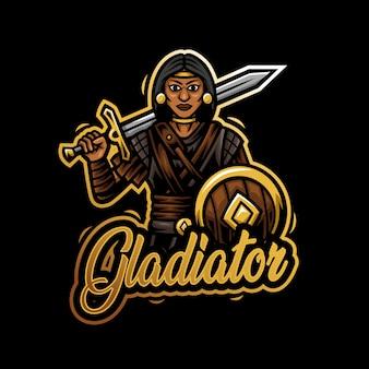 Gladiator frau maskottchen logo esport