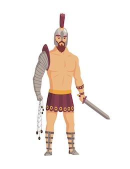 Gladiator im antiken rom. vektor römischer krieger charakter in rüstung mit schwert