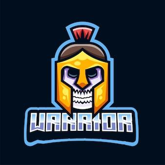 Gladiator-schädel-kopf-logo-illustration