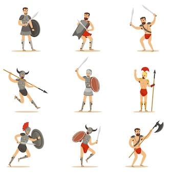 Gladiatoren der ära des römischen reiches in historischer rüstung mit schwertern und anderen waffen, die auf arena-satz von zeichentrickfiguren kämpfen