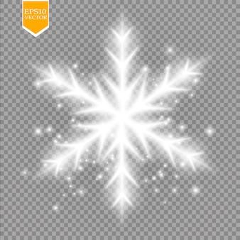 Glänzen sie weiße schneeflocke mit glitzer lokalisiert auf transparentem hintergrund
