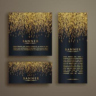 Glänzend goldenen partikel stil banner-set