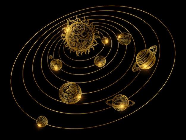 Glänzend goldenes sonnensystem