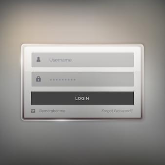 Glänzend login user interface design für die website und anwendung
