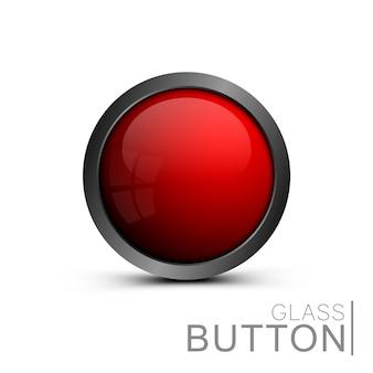 Glänzend roter knopf für webdesign. , leerer glasknopf der runden form für symbole. element für ui-design, apps und spiele.