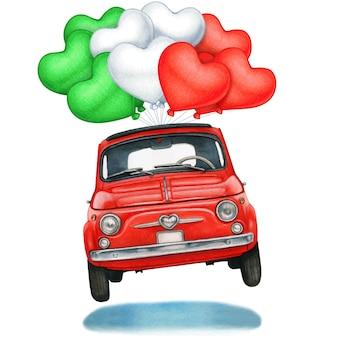 Glänzend rotes oldtimer hebt mit herzförmigen italienischen luftballons ab