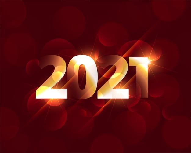 Glänzende 2021 glückliches neues jahr glühendes hintergrunddesign