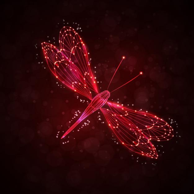 Glänzende abstrakte libelle