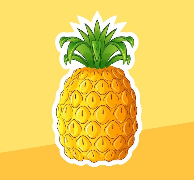 Glänzende ananas-cartoon-illustration