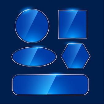 Glänzende blaue spiegelrahmen in verschiedenen formen