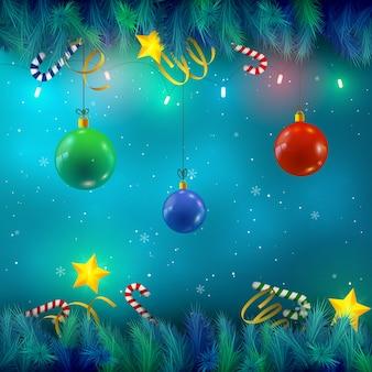 Glänzende bunte kugeln auf hintergrund mit weihnachtsbaumzweigen und sternen flache vektorillustration