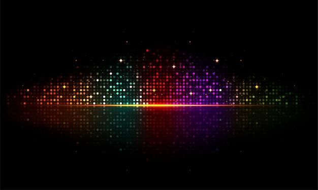 Glänzende bunte musikalische schläge auf glänzendem schwarzem backgrond.