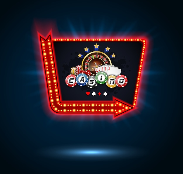 Glänzende casino light billboard banner