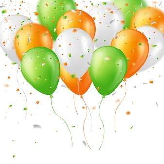Glänzende dreifarbige luftballons und konfetti. elemente mit unschärfeeffekt.