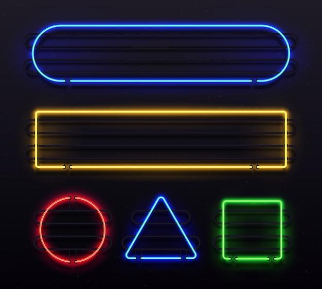 Glänzende fahne mit elektrischem grenzglühen im neon