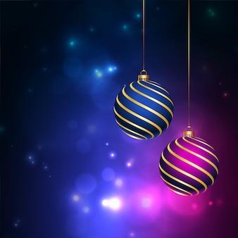 Glänzende frohe weihnachten hintergrund mit kugeln dekoration