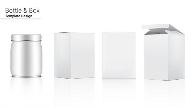 Glänzende glasflasche mock up realistic cosmetic oder essen und trinken und 3-dimensionale box