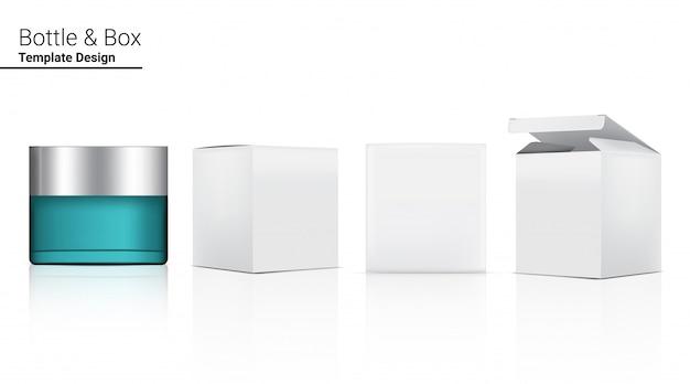 Glänzende glasflasche realistische kosmetik und 3-dimensionale box zum aufhellen von hautpflege und altern anti-falten-ware illustration. gesundheitswesen und medizinische konzeption.