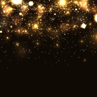 Glänzende glitzer auf schwarzem hintergrund vektor-illustration