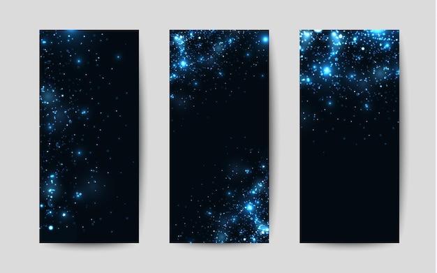 Glänzende glitzer auf schwarzem hintergrund vektorvorlagen für flyer