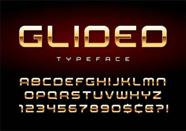 Glänzende goldene displayschrift, alphabet, zeichensatz