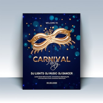 Glänzende goldene parteimaske auf blauem bokeh hintergrund für karneval-pa