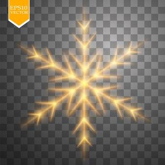 Glänzende goldene schneeflocke mit glitzer lokalisiert auf transparentem hintergrund