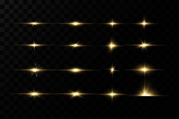 Glänzende goldene sterne isoliert auf schwarzem hintergrund effekte blendlinien glitzer explosion goldenes licht vektorillustrationset