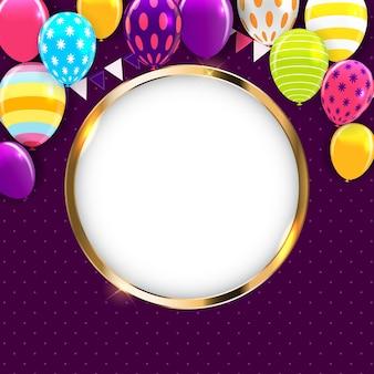 Glänzende happy birthday ballons hintergrund vektor illustration eps10