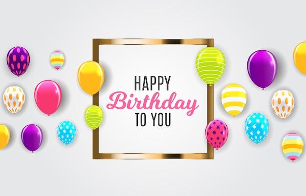 Glänzende happy birthday ballons hintergrund vektor-illustration