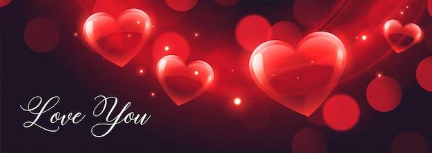 Glänzende herzen bokeh banner zum valentinstag