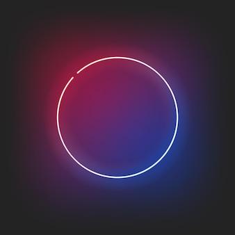 Glänzende illustration der neonrahmenkreisgrenze. runde form der led-lampe glänzen hell auf dunklem hintergrund.