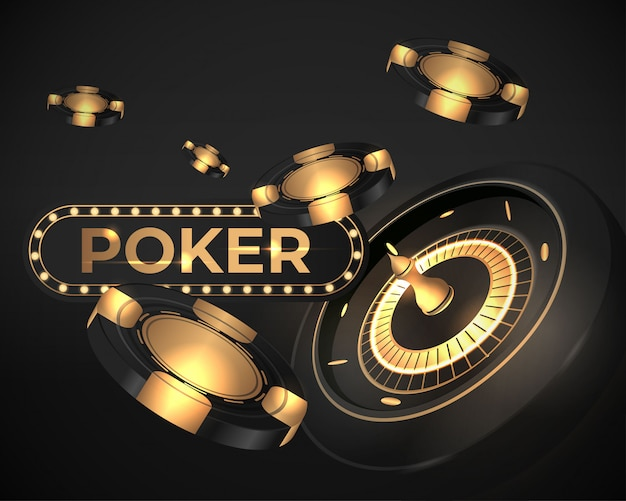 Glänzende kasinopoker-rouletterad-fahnenillustration
