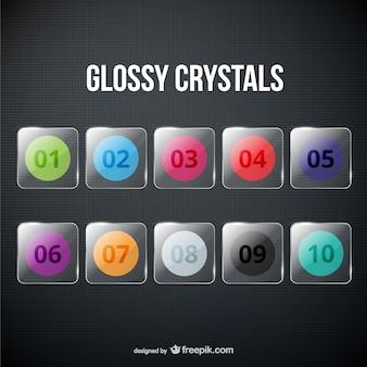 Glänzende kristalle packen