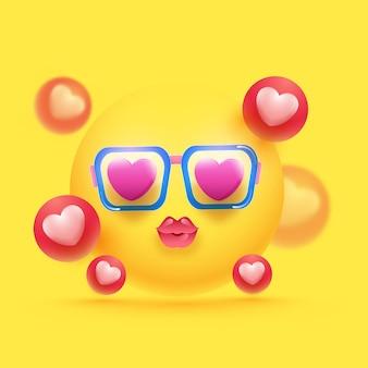 Glänzende liebe emoji tragen schutzbrille und 3d-herzkugeln verziert auf gelbem hintergrund.