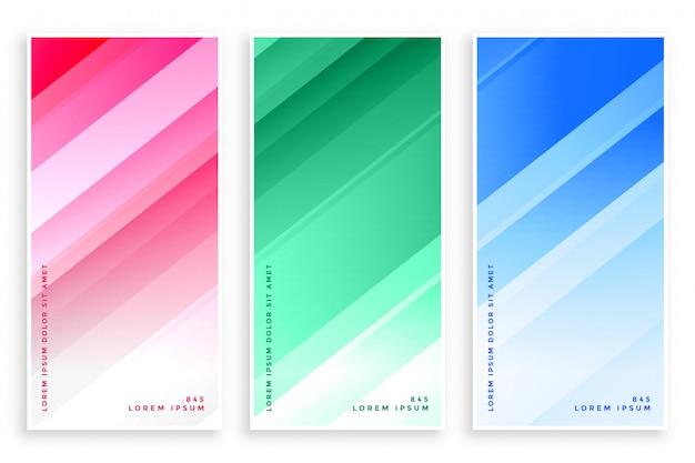 Glänzende linien der eleganten farben geschäftsfahnensatz