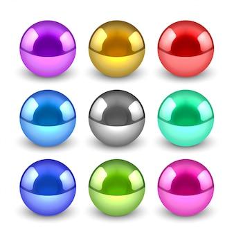Glänzende metallische kugeln 3d eingestellt