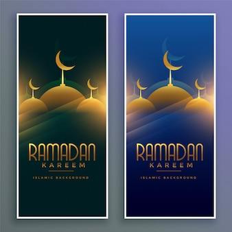 Glänzende moslemische moschee ramadan kareem vertikale fahnen