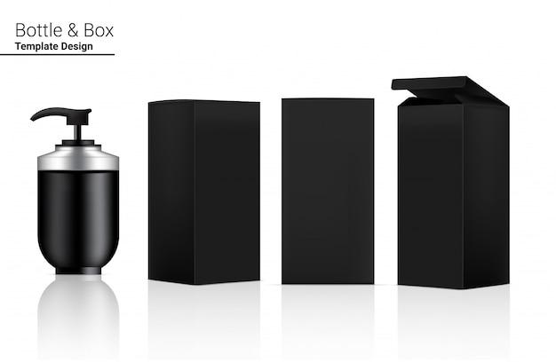 Glänzende pumpflasche realistische kosmetik und 3-dimensionale box zum aufhellen von hautpflege- und alterungsschutzmitteln gegen falten