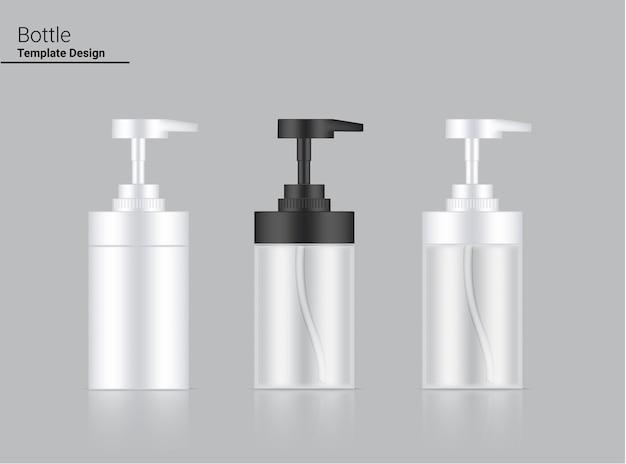 Glänzende pumpflasche transparente, weiße und schwarze realistische kosmetik